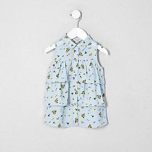 Mini - Blauw mouwloos overhemd met bloemenprint voor meisjes
