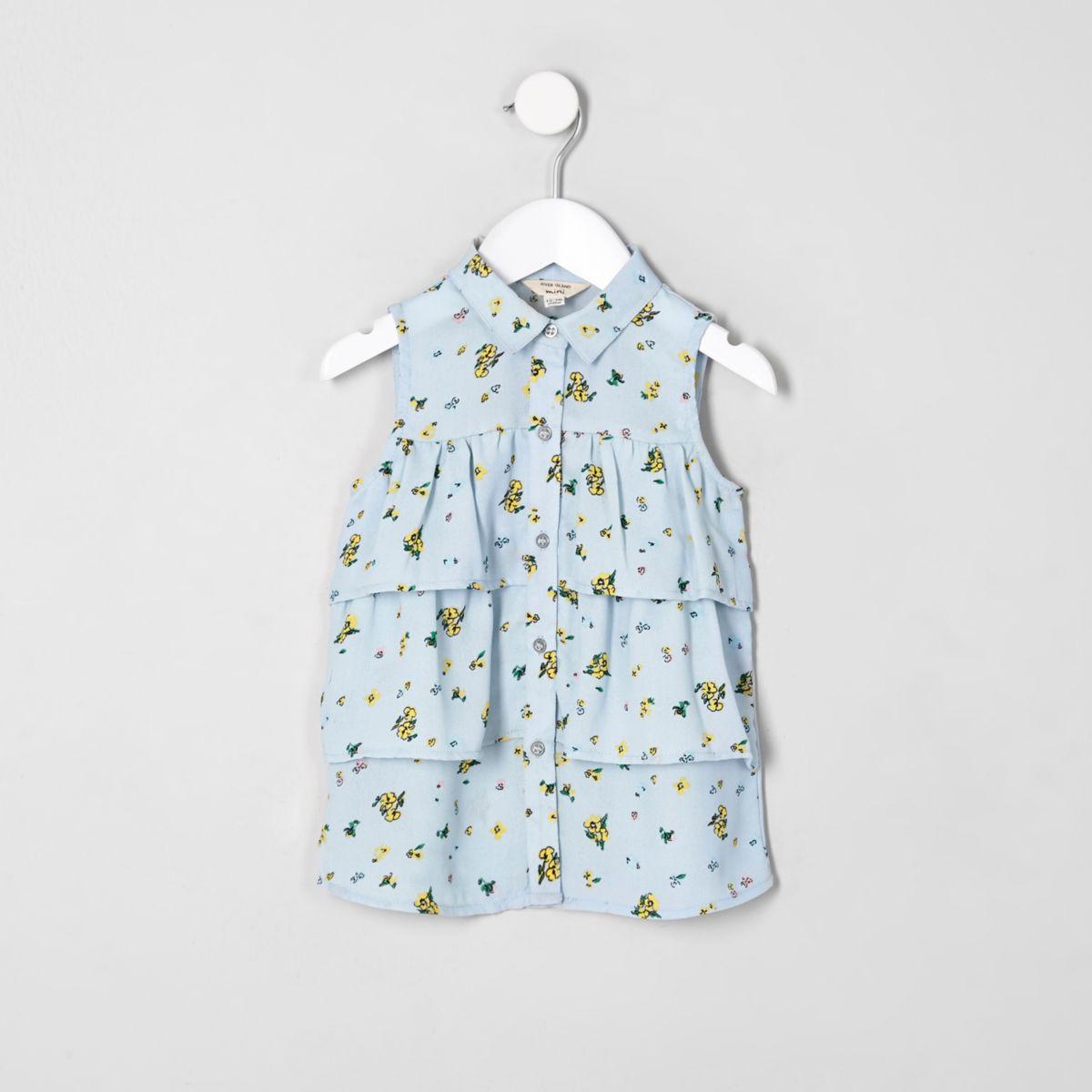 Mini girls blue floral sleeveless shirt