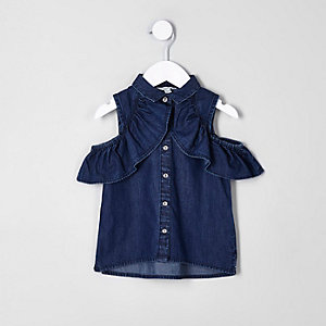 Mini girls blue denim bardot shirt