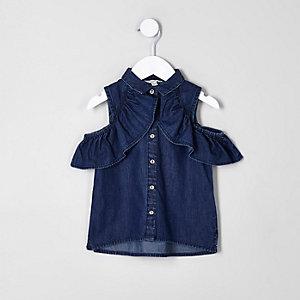 Mini - Blauw denim overhemd in bardotstijl voor meisjes
