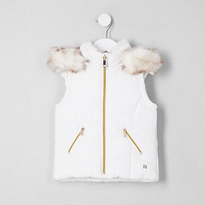 Mini girls white faux fur padded gilet