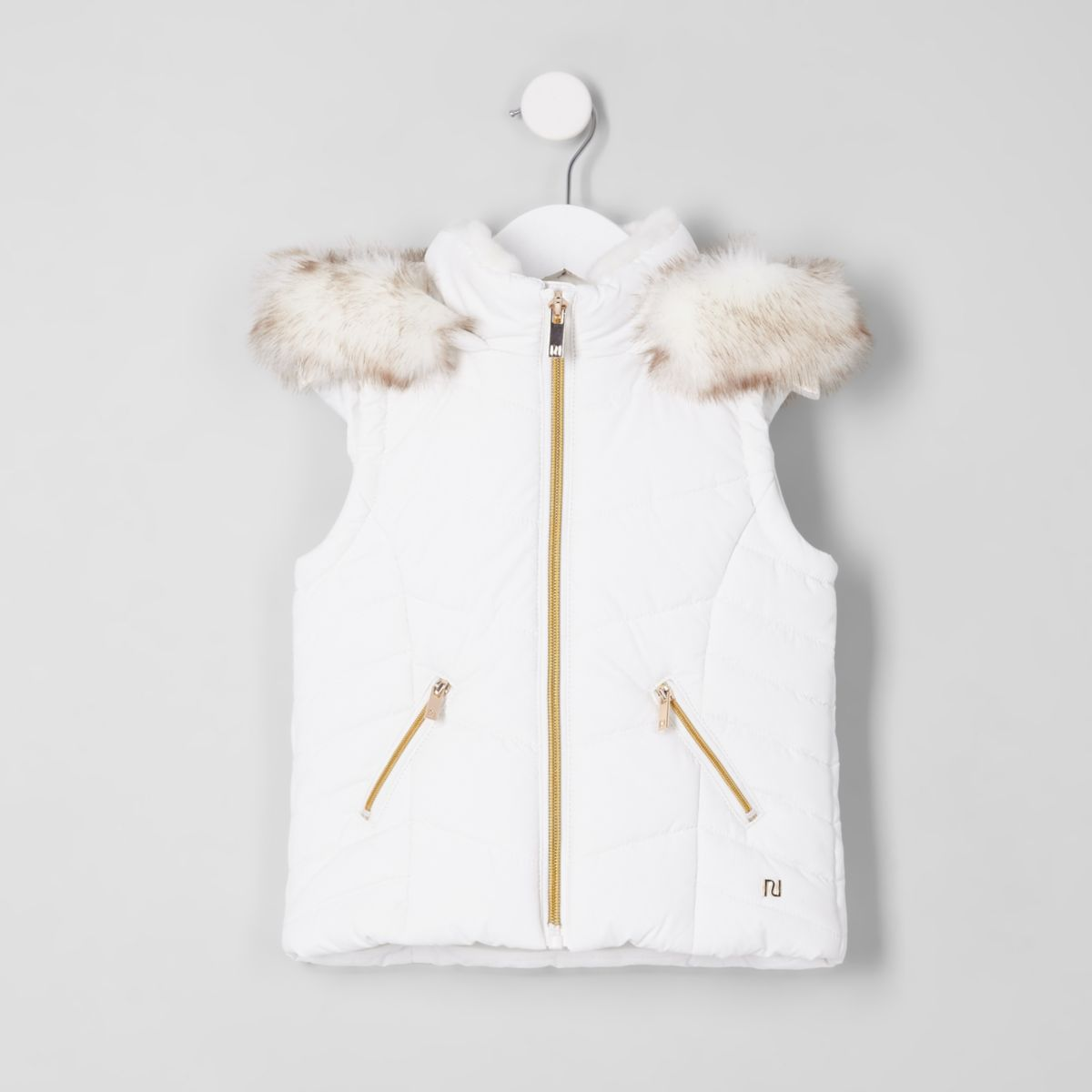 Mini girls white faux fur padded gilet