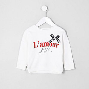 Mini girls cream 'l'amour' print sweatshirt