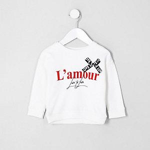 Mini girls cream 'l'amour' print sweatshirt