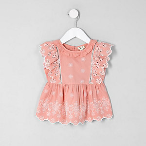 Top en broderie anglaise rose sans manches mini fille