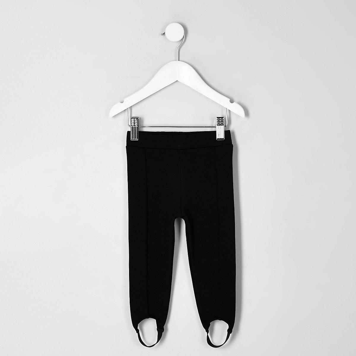 Mini girls black stirrup leggings