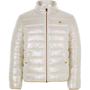 Girls white metallic bomber jacket