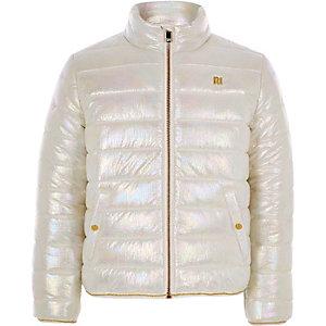Witte metallic gewatteerde jas voor meisjes