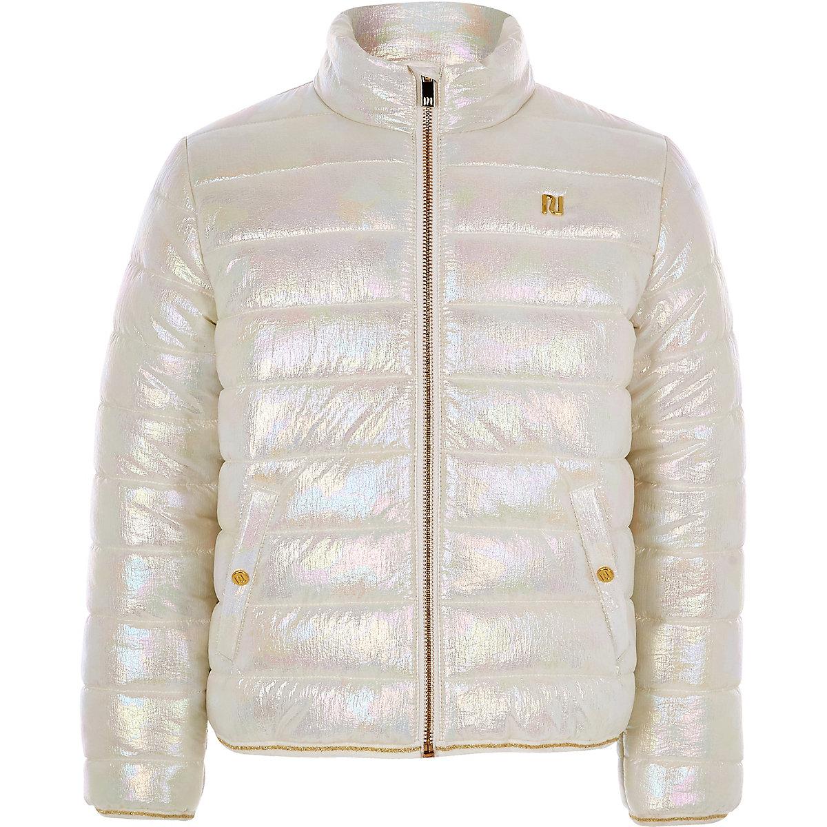Girls white metallic padded jacket