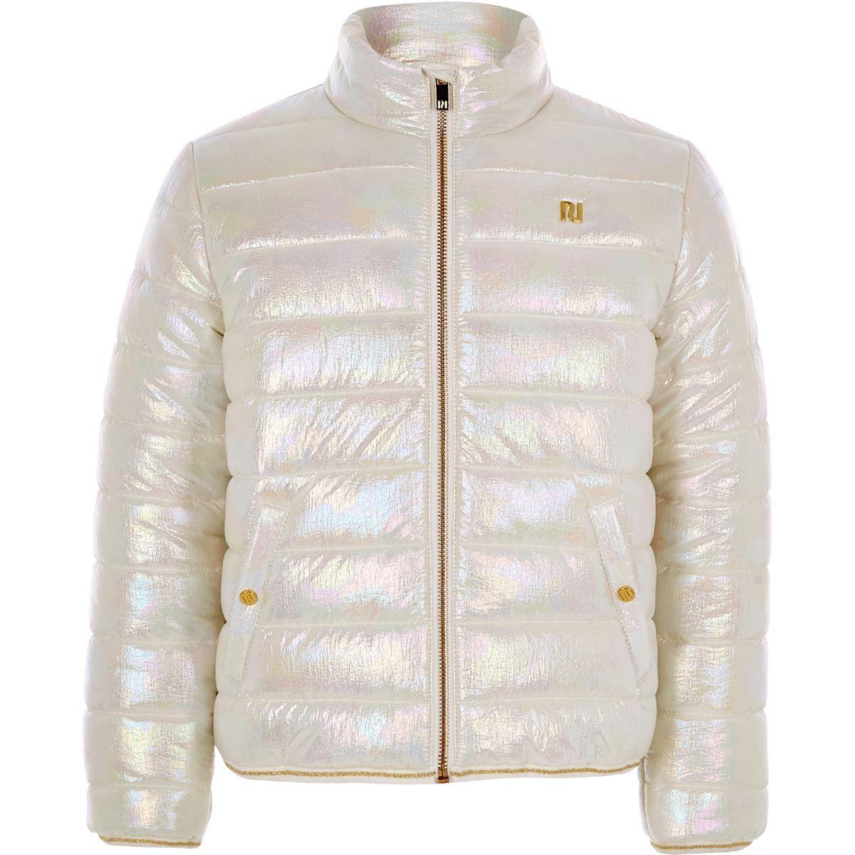 Girls white metallic bomber jacket