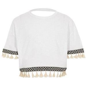 T-shirt manches courtes blanc bordé de pampilles pour fille