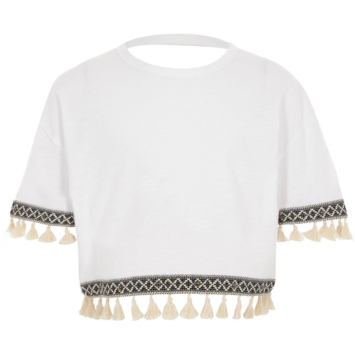 Girls white short sleeve tassel trim T-shirt