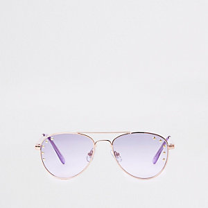 Girls purple lens stud aviator sunglasses