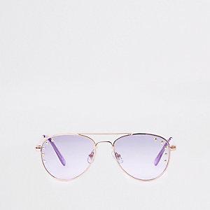 Lunettes de soleil aviateur aux verres violets cloutées pour fille