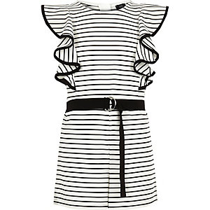 Girls white stripe frill romper