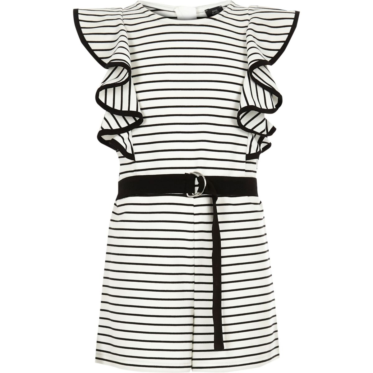 Girls white stripe frill playsuit