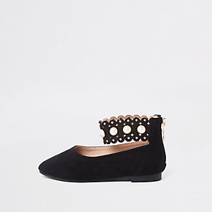 Mini girls black scallop ballerina shoes