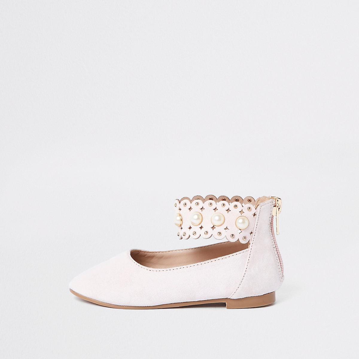 Mini girls pink scallop strap ballet shoes