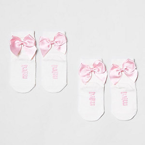 Mini girls white bow ankle socks