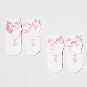 Socquettes blanches avec nœud mini fille