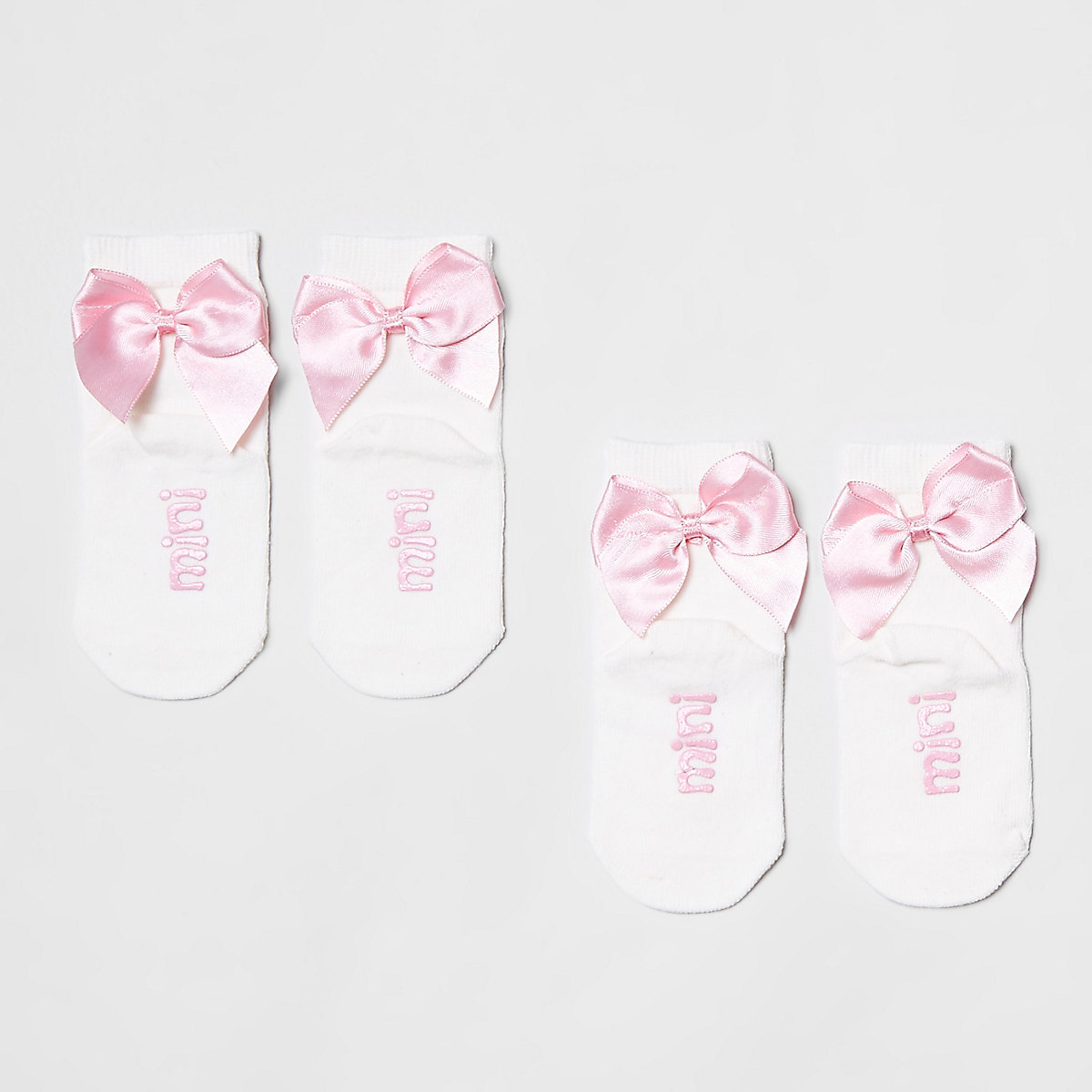 Mini Girls pink bow ankle socks multipack