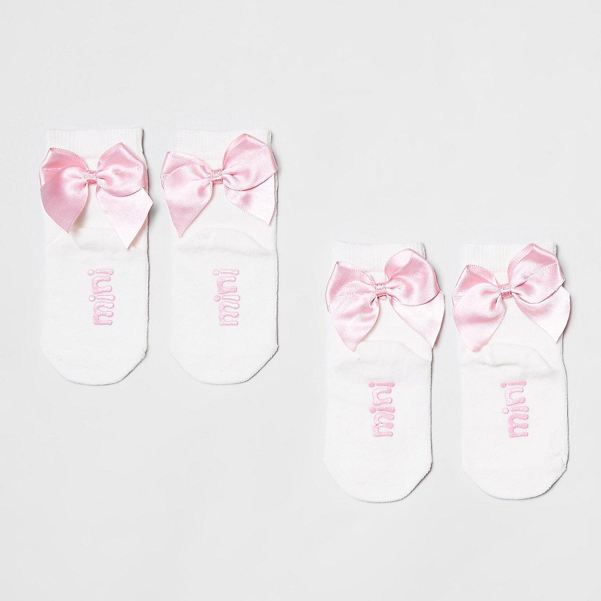 Mini girls white bow ankle socks