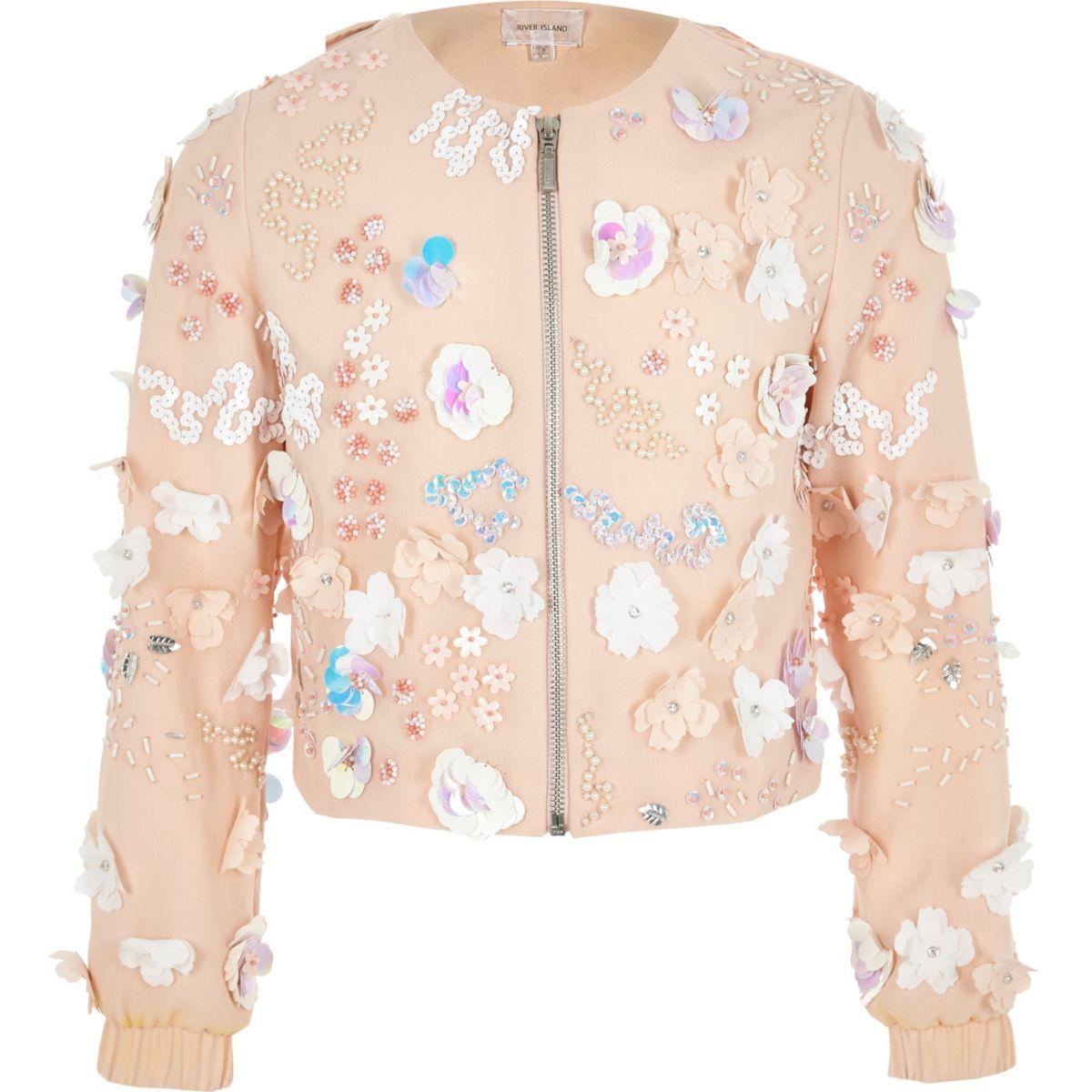 Girls pink floral sequin trophy jacket