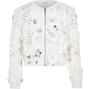Girls white floral sequin trophy jacket