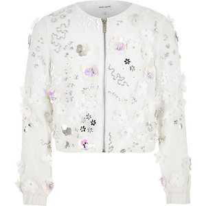 Girls white floral sequin trophy jacket