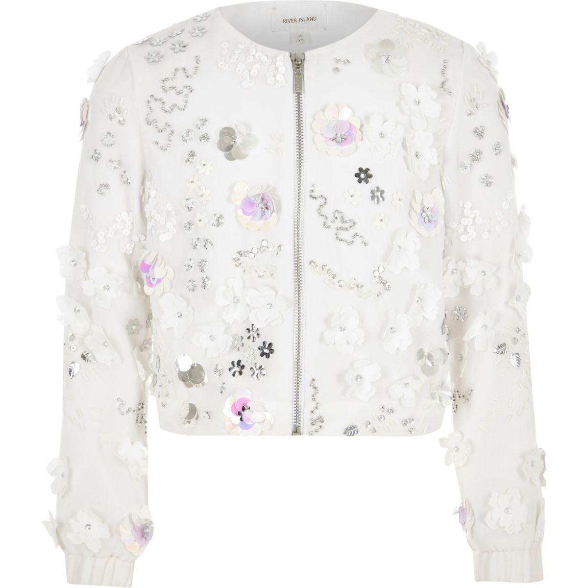 Veste blanche à fleurs avec sequins pour fille