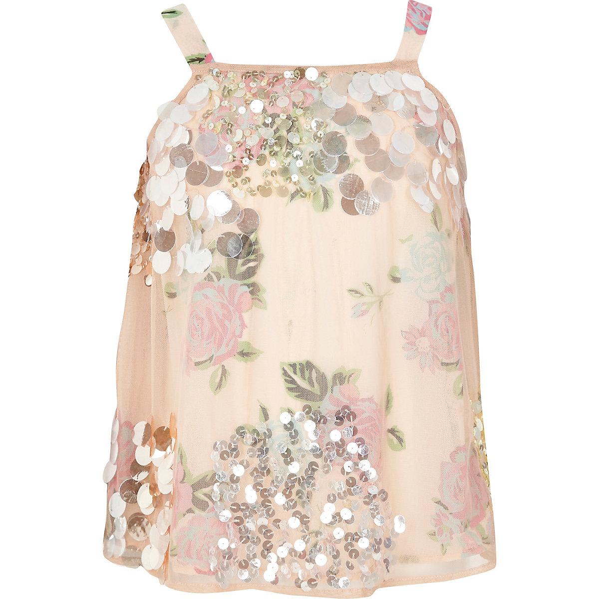 Girls pink sequin embellished cami top