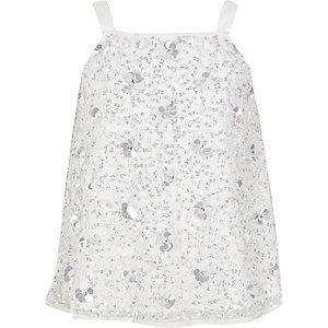 Weißes Camisole mit 3D-Blume
