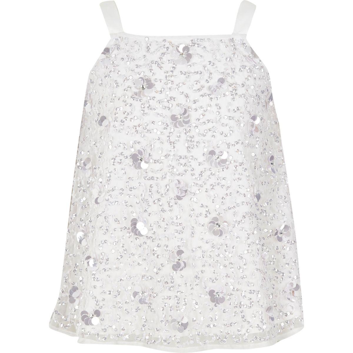Girls white 3D flower cami top