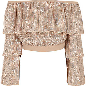 Crop top Bardot rose à volants et sequins pour fille