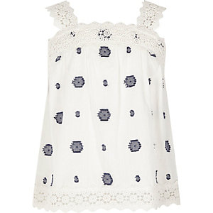 Girls jacquard spot wide strap cami