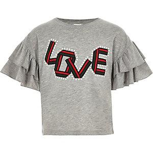 Girls grey love pearl frill sleeve T-shirt