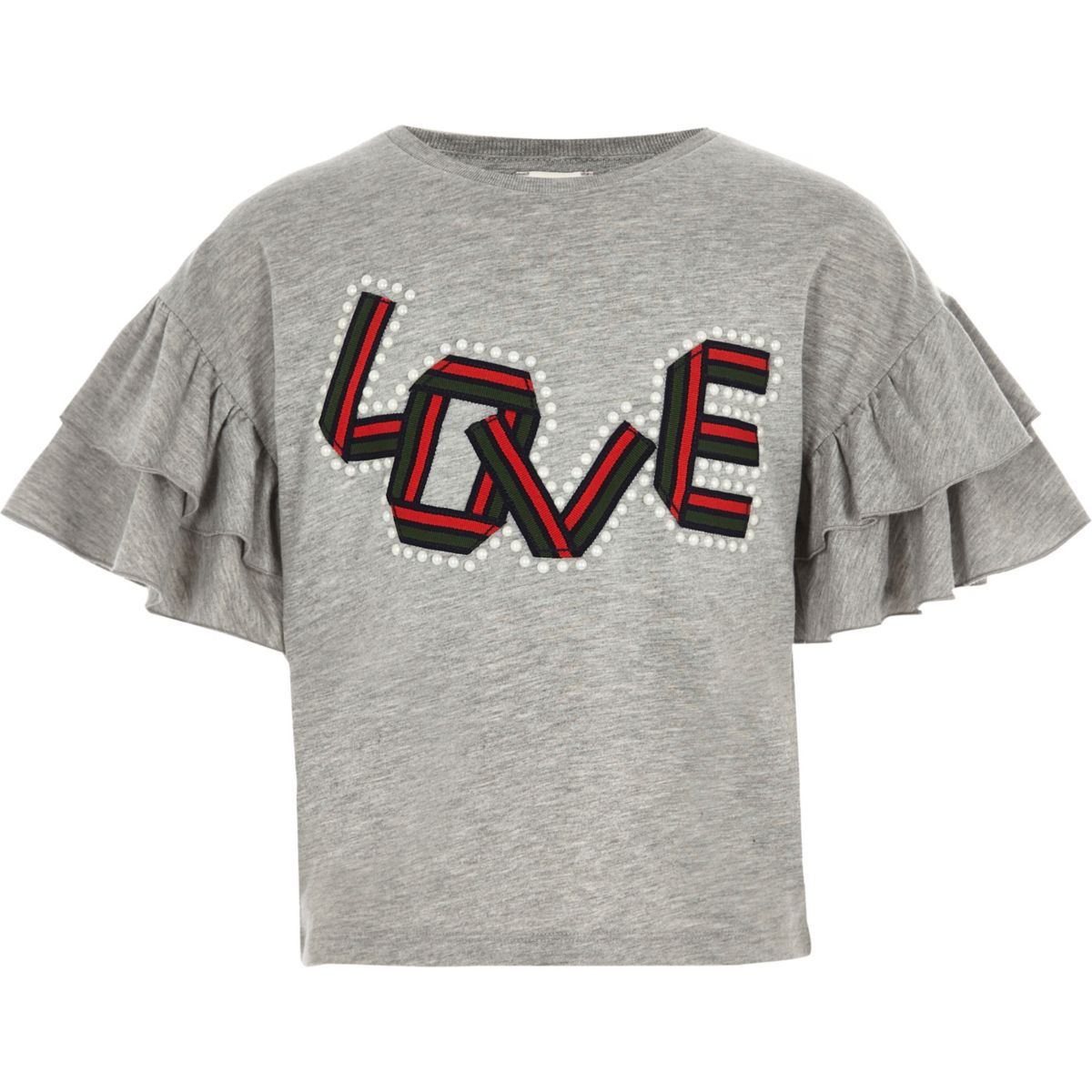 Girls grey love pearl frill sleeve T-shirt