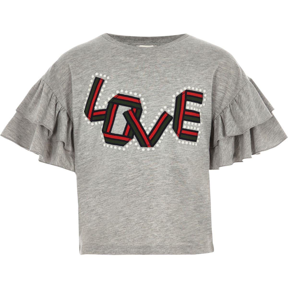 T-shirt « Love » gris orné de perles avec manches à volants fille