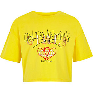 T-shirt court « Girls can» jaune pour fille