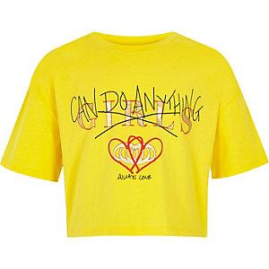 Geel cropped T-shirt met 'girls can'-print voor meisjes
