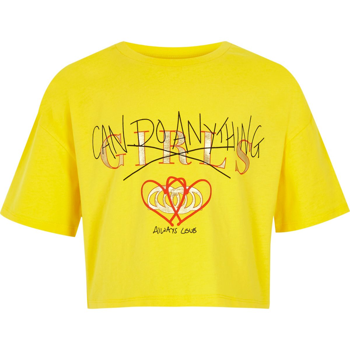 Girls yellow 'girls can' cropped T-shirt