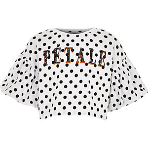 Girls white 'Patale' polka dot T-shirt