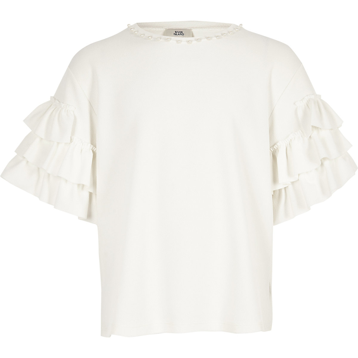Girls white pearl trim frill top