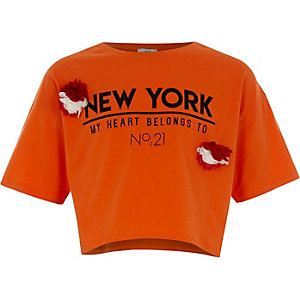 Girls orange 'New York' corsage T-shirt