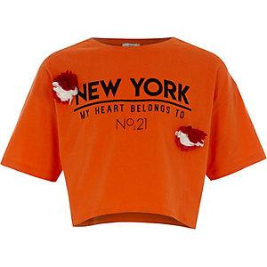 T-shirt «New York» orange à fleur fantaisie pour fille
