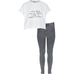 Witte outfit met T-shirt met 'Classic'-print en jegging voor meisjes