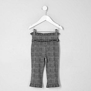 Mini - Grijze broek met ruches aan de zoom en tailleband voor meisjes