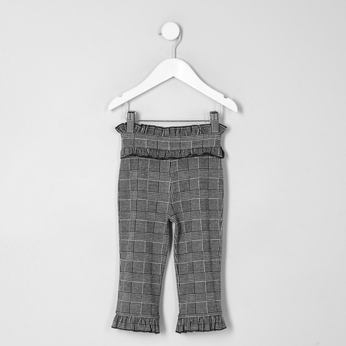 Mini girls grey frill hem waisband pants