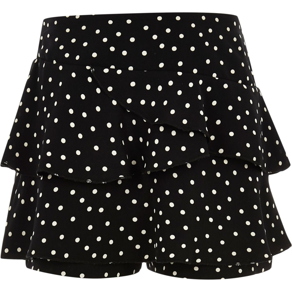 ​Girls black rara frill spot skort