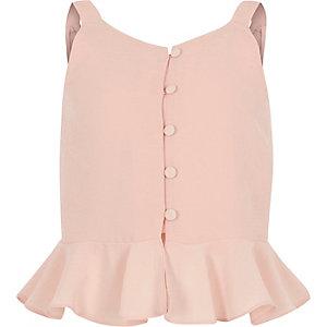 Girls pink peplum cami top